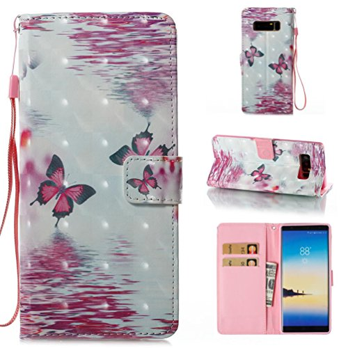 Galaxy Note 8 Wallet Case,Firefish Magnetic Closure Slim Fit Wallet Case Folio Book Cover Flip Kickstand Double Layer Credit Card Slots Case Full-Body Protective Cover for Samsung Note 8-Butterfly