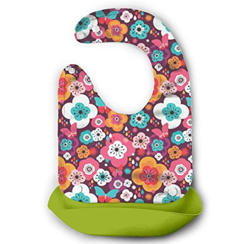 CUUOP13 Flower Power Butterfly Summer Silicone Bib - Waterproof Baby Bibs Girls Boys - Perfect Babies Toddlers - Easy to Clean Feeding Bibs - Set of 4 Colors