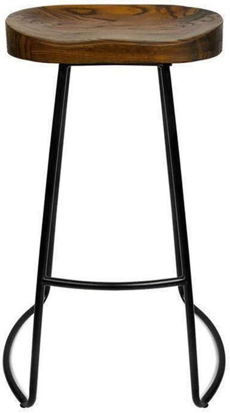 Creative Simplicity Simple Atmosphere Wrought Iron Bar Stool, Classical Small Apartment Wooden Furniture Home Restaurant Breakfast Stool Garden Tea Stool Non-Slip Seat, lsxysp, d, 45CM