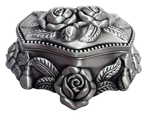 (Happy Homewares Beautiful Antique Pewter Plated Metal Heart Trinket Jewelry Chest with Rose Decoration Perfect for Necklaces, Earrings and Rings)