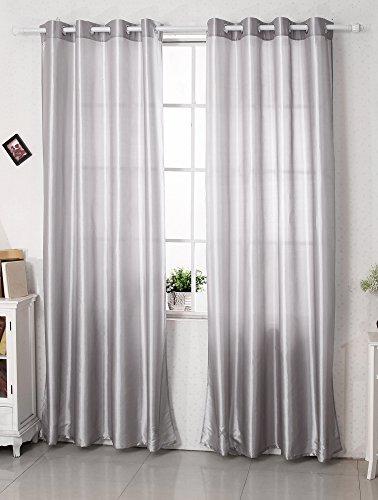 Woltu #125 Gardine Vorhang Dekoschal, mit Ösen, halbtransparent, Super Design, Fensterschal Ösenschal (Hellgrau)