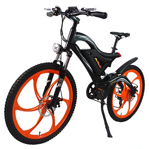 Alloy Dual Suspension - Addmotor HITHOT Electric Bike 500W 48V Motor 26 inch Electric Bicycle 11.6Ah Lithium Battery Dual Suspension Alloy Frame Mountain Ebike H2 2018 for Adults Men (Orange)