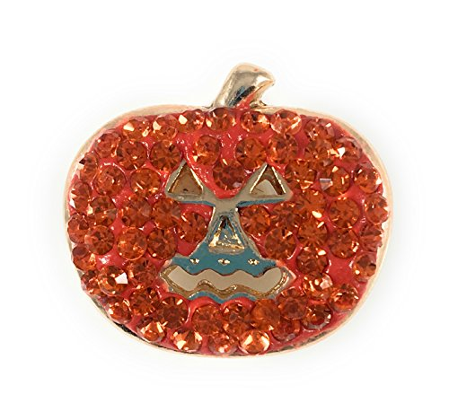 Chunk Snap Charm Halloween Pumpkin Orange Crystals 20mm 3/4