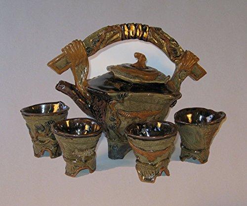 Eagle Buddha Tea Pot with 4 Tea Cup Set, Sculpted artistic tea pot set.