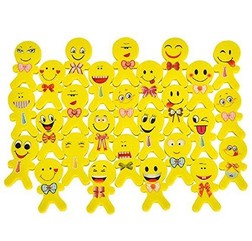 Smiley Costume Falls (Novelty Treasures EXPRESSIVE Set of 48 Emoji Buddy Erasers (2