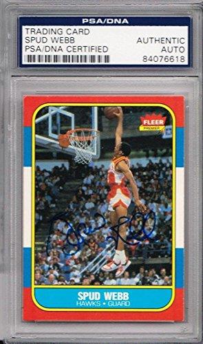 - Spud Webb Signed Autographed 1986 FLEER Card 84076618 SB0 - PSA/DNA Certified - Basketball Autographed Cards