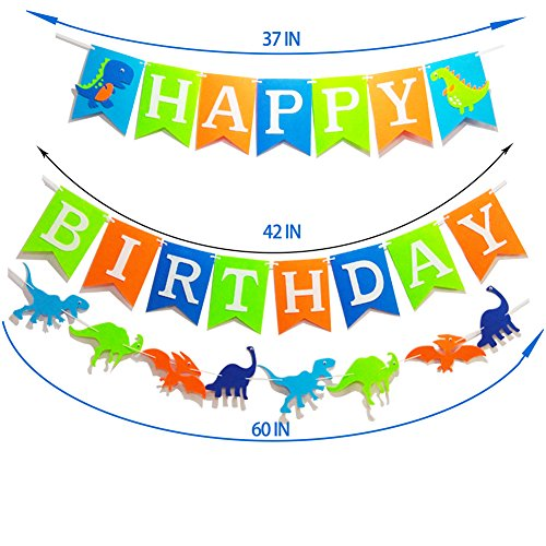 Seasons Stars Dinosaur Happy Birthday Banner( Assembled) with White Letters,Dino Birthday Colorful Felt Banner, Dino Jungle Jurassic Garland photo props For Kids Birthday Dinosaur Party Supplies by Seasons Stars (Image #2)