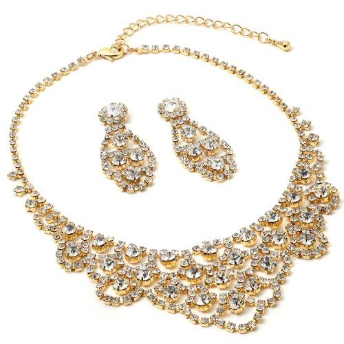 (Gold Crystal Rhinestone Chandelier Drop Dangle Earrings & Chandelier Wave Shaped Necklace Jewelry Set)