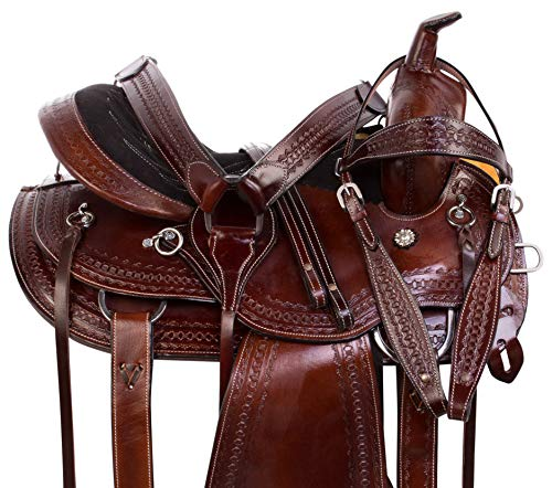 (AceRugs Western Leather Tooled Round Skirt Close Contact Pleasure Trail Horse Saddle TACK Set (15))