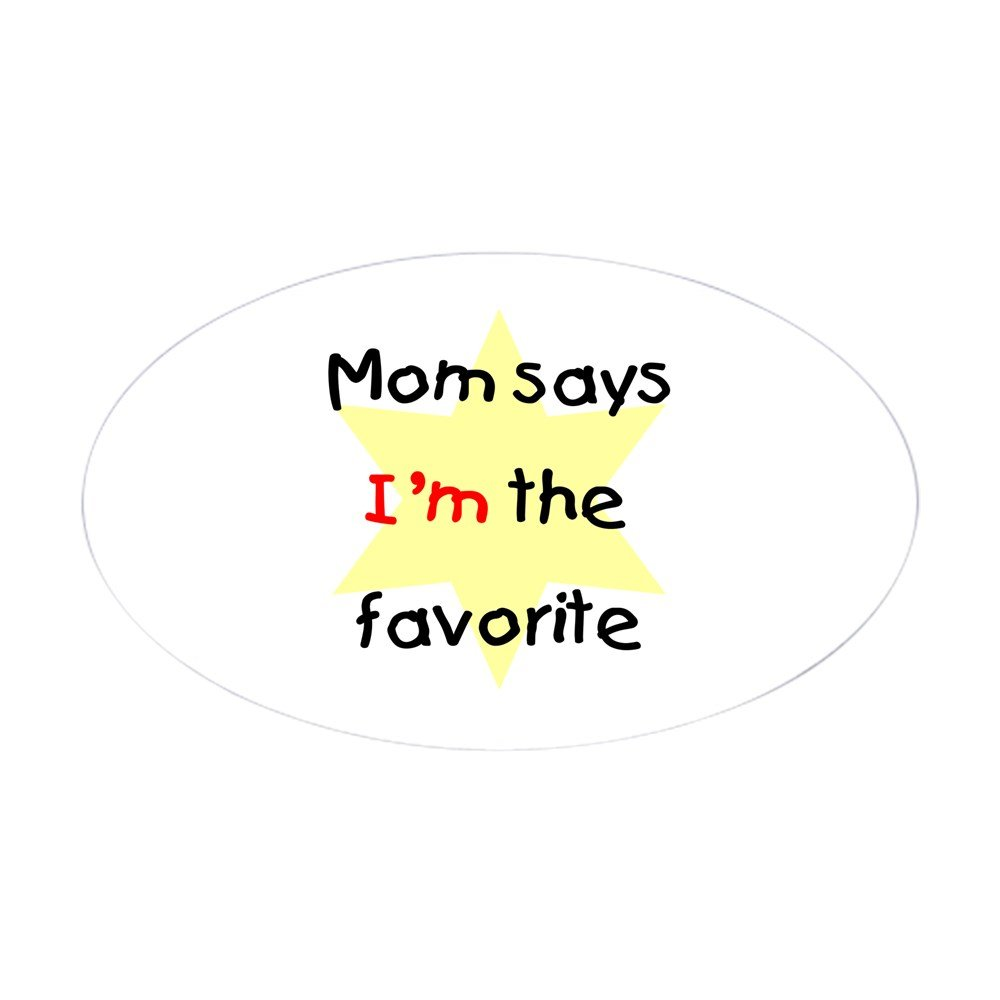 Amazon com cafepress mom says im the favorite yellow oval sticker oval bumper sticker euro oval car decal home kitchen