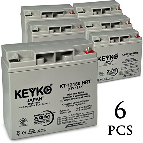 Salorr E-3804 12V 18Ah / Real 20.0Ah AGM - SLA Sealed Lead Acid HIGH RATE Deep Cycle Battery for UPS Wheelchair Scooter and Mobility - Nut & Bolt L1 - 6 Pack by KEYKO