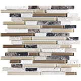 "4"" x 6"" Sample - Bliss Cappucino Stone and Glass Linear Mosaic Tiles - Kitchen Backsplash/Tub Surround"