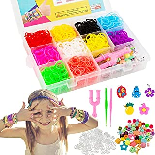 VENSEEN Rainbow Rubber Bands Bracelet Making Kit - Super 5 in 1 Loom Bands Starter Kit for Girls and Boys, Includes: 1500+ Rubber Bands, 50 Beads, 24 S-Clips, 5 Charms, 2 Crochet Hooks, 1 Y Loom