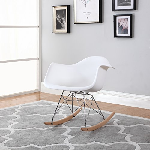 Modern Set of 2 EAMES Style Rocking Armchair Natural Wood Legs in Color White, Black and Red - Set Chair Nursery
