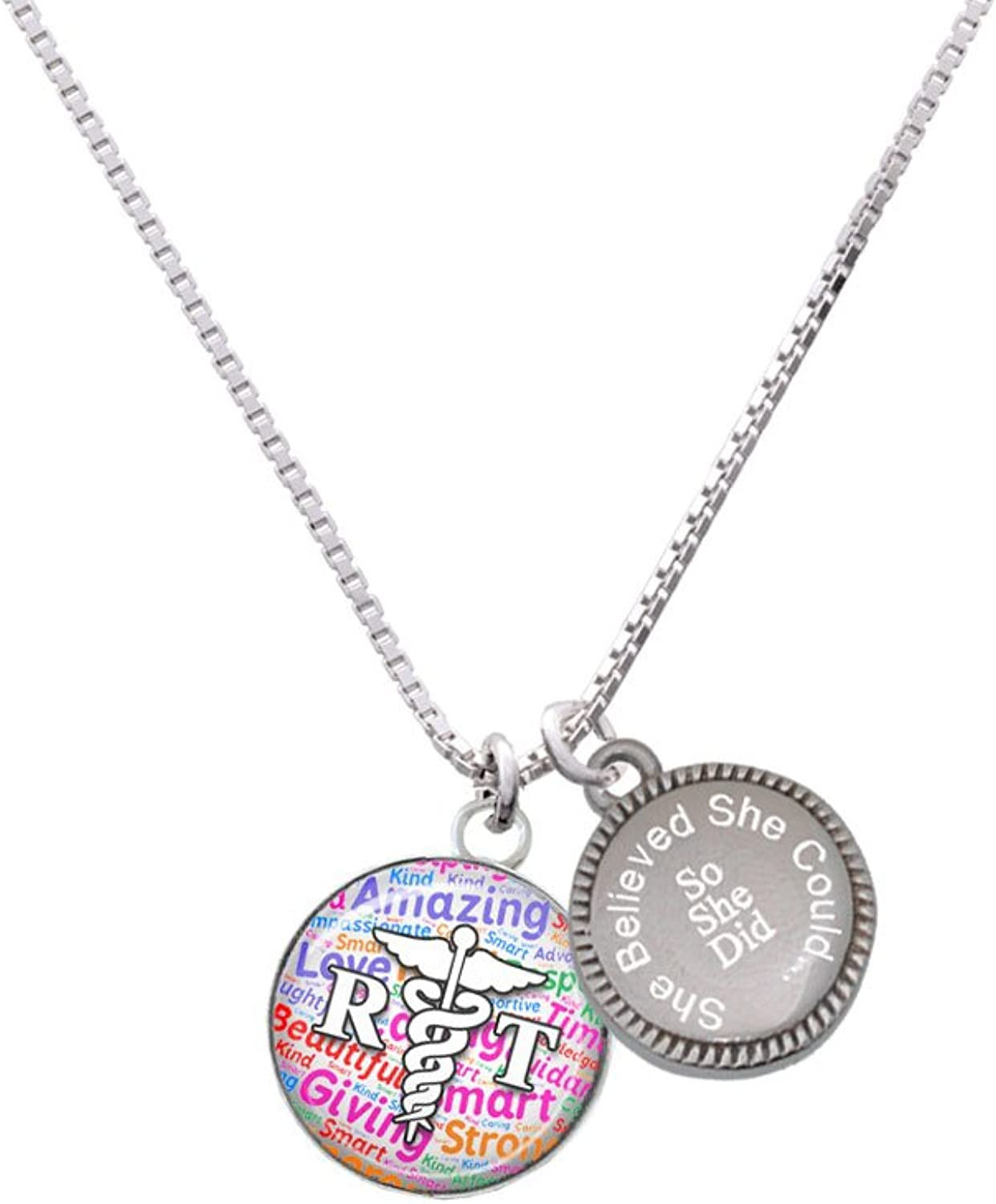 Domed Multi Color RT She Believed She Could So She Did Engraved Necklace