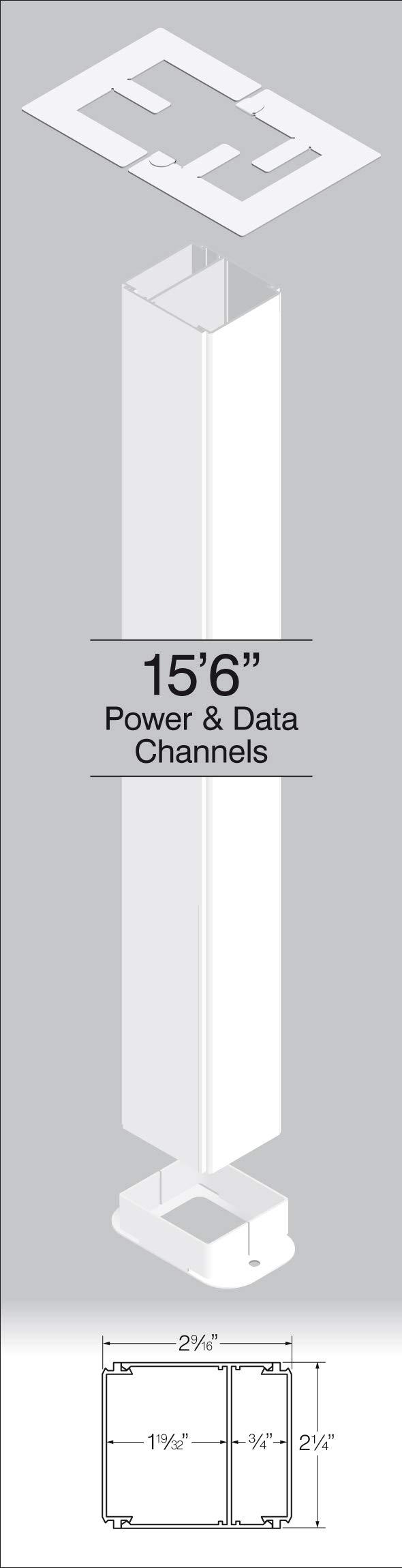 Power Pole, Blank, 15' 6'' Long White Powder Coated Finish