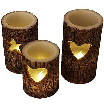 LED Wachs Weihnachtskerzen Flackerlicht  Kerzen 3tlg.