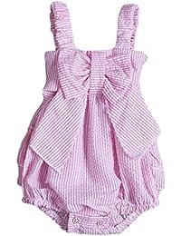 Baby Girls Striped Seersucker Bubble Straps Ruffle Layers Bowknot Romper