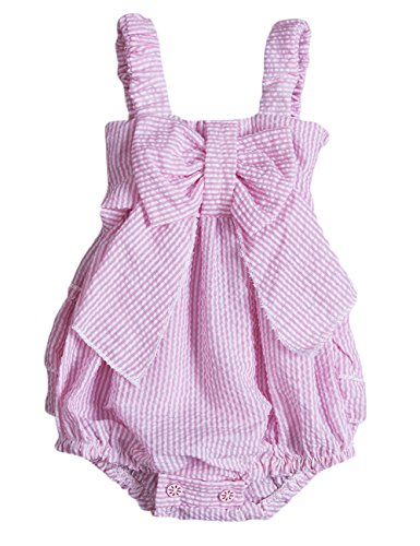 Charm Kingdom Baby Girls Striped Seersucker Bubble Straps Ruffle Layers Bowknot Romper (90(12-18M))