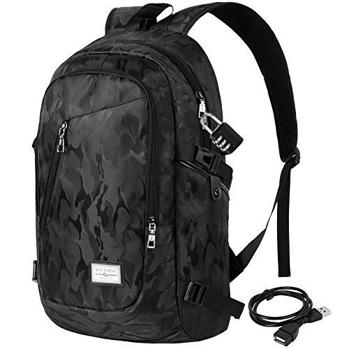 Vbiger Oxford College Student Backpack Large Capacity Laptop Backpack Lightweight School Backpack Children Bookbag Casual Daypack with Security Coded Lock and USB Charging Port (Camouflage Black)