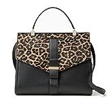 Kate Spade Parchment Drive Rosaline Leather Satchel Shoulder Bag , Leopard Haircalf Black