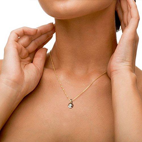 14K Or blanc 0,01carat au total Round-cut-diamond (IJ | SI) et perle Pendentif