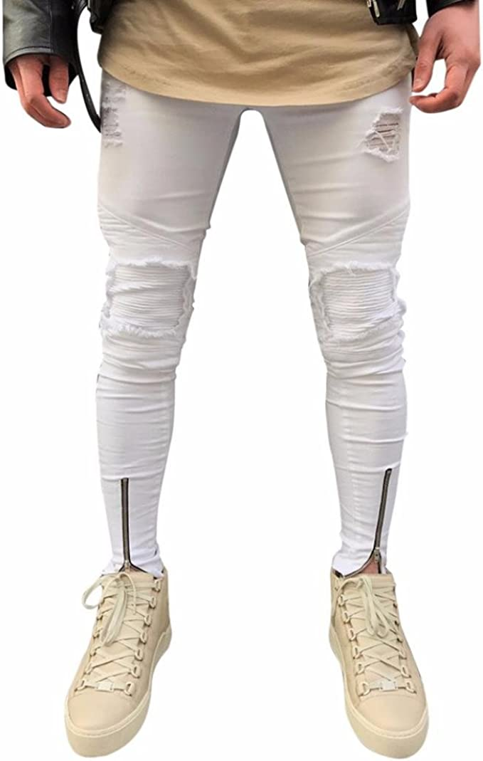 Mens Moto Biker Twill Casual Pants Elastic Slim Fit Jean Chinos Khaki Trousers