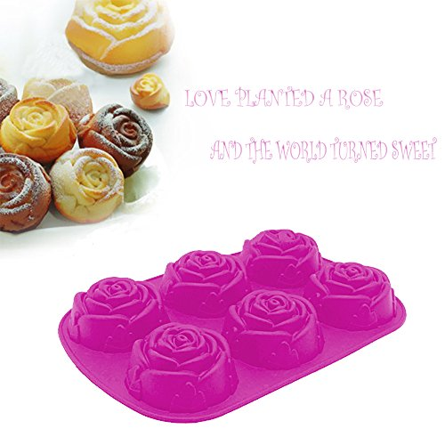 6 Cavity Rose Flower Candy Treats Cake Maker Mold. Chocolate Soap Mold. Baking Pan, Bake ware - Food Grade Silicone. By DidaDi Color: Violet Purple (4d Adult Football)