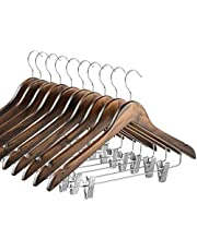 High-Grade Wooden Suit Hangers Skirt Hangers with Clips Smooth Solid Wood Pants Hangers with Durable Adjustable Metal Clips, 360° Swivel Hook, Shoulder Notches for Dress, Jackets, Blouse (Vintage Wood, 10 pack)