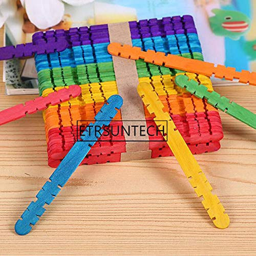 Moonnight Store 5000pcs Wood Popsicle Sticks Ice Cream Lolly Molds Kids Hand Crafts Art DIY Cake Making Children Gift Wooden (colorful) by Moonnight Store (Image #2)