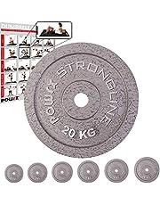 POWRX Discos Hierro Fundido 2,5 - 20 kg - Pesas Ideales para Mancuernas y Barras con diámetro 30 mm + PDF Workout (Plata)