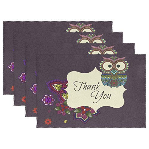 Ornamental Owl with Thank You Quote Placemats Set of 4 for Kitchen Table Heat Resistant Washable Table Mats for $<!--$20.99-->