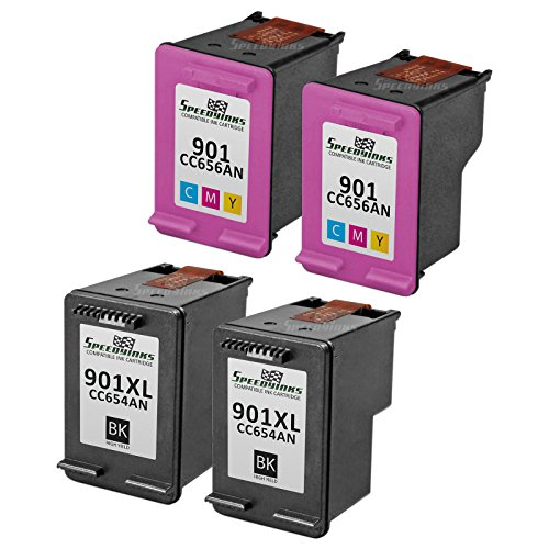 Speedy Inks - 4PK Remanufactured replacement for HP 901XL CC654AN CC656AN Ink Cartridge Set: 2 HY Black and 2 Color for use in HP: G510a, G510g, G510n, J4524, J4540, J4550, J4580, J4624, J4660, J4680