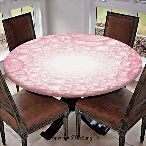 Elastic Edged Polyester Fitted Table Cover,Different Size Bubbles Pattern Delicate Foam Circular Clean Washing Theme Art,Fits up 45