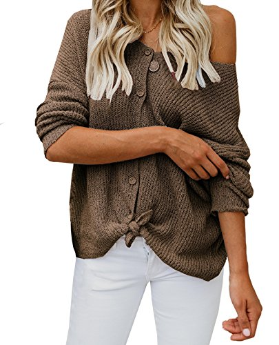 Women's Button Down Shirts Tie Front Off Shoulder Loose Fit Knitted (Sexy Brown One Shoulder)