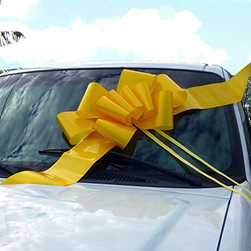 23'' Yellow Car Bow, Big Support Our Troops Ribbon by GiftWrap Etc.