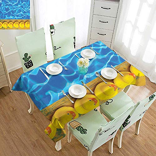 DILITECK Washable Table Cloth Yellow and Blue Cute Rubber Ducks Lined Up Near The Pool Azure Water Fun Summer Party W70 xL94 Aqua Orange Yellow