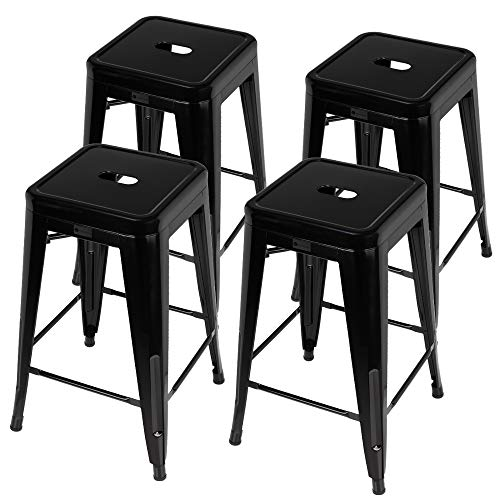 Homegear 4 Pack Stackable Metal Kitchen Bar Stools Chairs Black