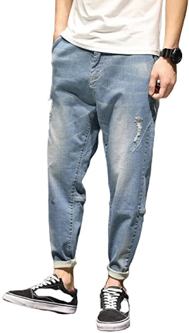 Pantalones Vaqueros Rectos De Ajuste Regular Para Hombre De Gran Tamano De Verano Con Agujeros Rotos Japoneses Elasticos Sueltos Pantalones Vaqueros Lavados Casuales De Gran Tamano Amazon Es Ropa Y Accesorios