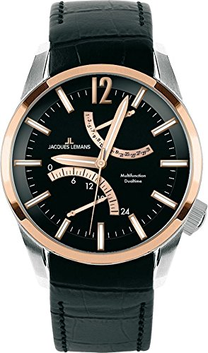 Lemans Watches Jacques Men - Jacques Lemans Men's 'Liverpool GMT' Quartz Steel-Two-Tone and Leather Casual Watch, Color:Black (Model: 1-1583E)