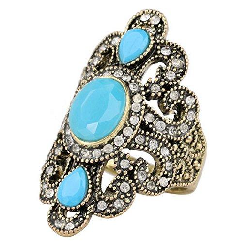 PSRINGS Antique Gold Rings Fine Black Red Resin Stone Strass Bohemian Turkish Ring fe Ethnic Punk Fashion 9.0
