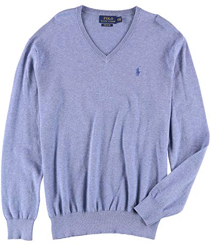 Polo Ralph Lauren Mens Heathered V Neck Pullover Sweater Blue S