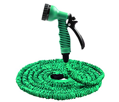 JJTGS Expandable Garden Hose,Strongest Expandable Garden Hoses,Super Lightweight Automatically Expands and Contracts,Car Washing Hose for Watering Plants,Auto Wash,Cleaning Patio House(GREEN) (25FT)