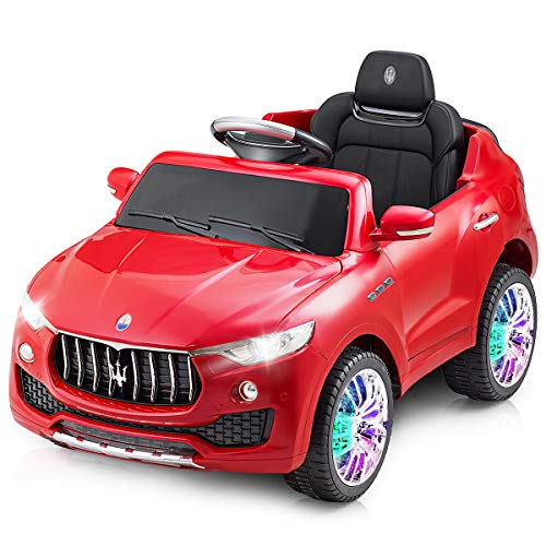 Costzon Kids Ride On Car, Licensed Maserati 6V Battery Powered Vehicle, Parental Remote Control & Manual Modes w/Opening Doors, Swing Function, Bluetooth, USB, MP3, Horn, Music, LED Lights (Red)