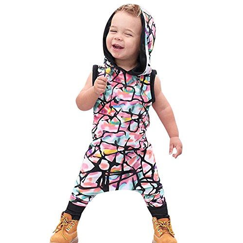 Yalasga Boys Girls Multicolor Hooded Romper Jumpsuit Infant Baby Summer Outfits