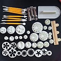 Ryshia Le 46pcs Flower Fondant Molds Cutter Cake Decorating Kit Cookie Mold Icing Plunger Cutter Tools Polymer Clay Molds for Dessert Food