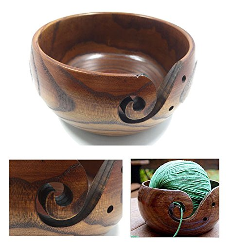 levylisa Wood Yarn Bowl Crochet Bowl Wood Knitting Bowl Yarn Holder Large Yarn Bowl Wooden Yarn Bowl with top Yarn Bowl for Knitting by levylisa