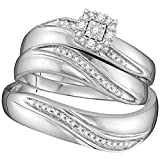 Sterling Silver His & Hers Diamond Solitaire Matching Bridal Ring Band Set 1/5 Cttw(J-K,I2-I3)