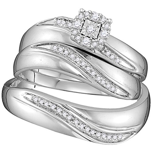 (Sonia Jewels Sizes - L = 7, M = 10-925 Sterling Silver Trio His & Hers Round Diamond Solitaire Matching Bridal Wedding Ring Band Set (1/5 Cttw) )