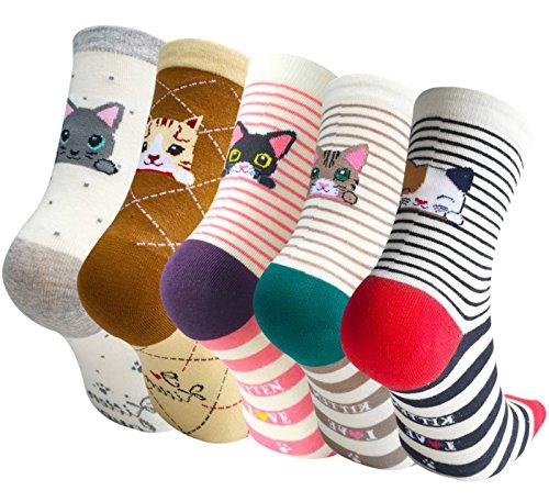 Chalier 5 Pairs Womens Cute Animal Socks Casual Cotton Crew Funny Socks